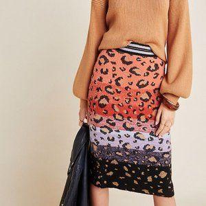 Anthropologie Leopard Sweater-Knit Pencil Skirt